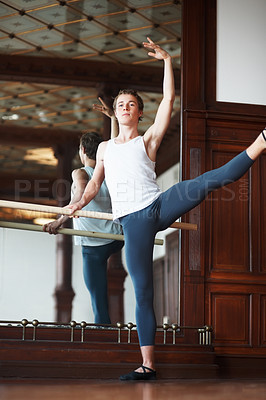 Buy stock photo Portrait of a young man practicing ballet with mirror in background