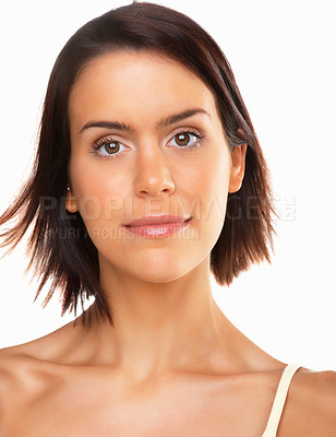Buy stock photo Fresh and beautiful. Closeup portrait of a mixed race young woman against white background