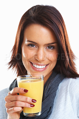 Buy stock photo Closeup portrait of a young attractive happy woman with glass of juice