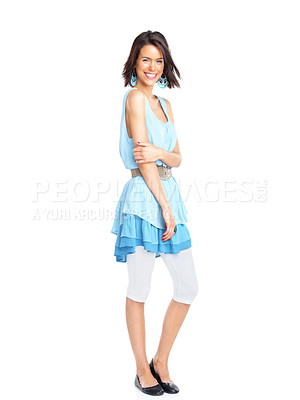 Buy stock photo Full length portrait of a beautiful young female standing over white background
