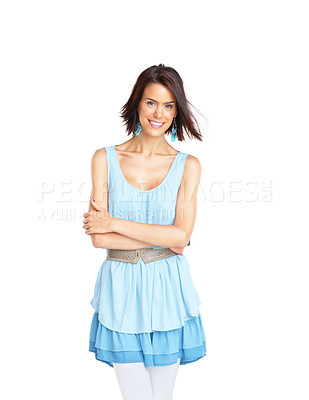 Buy stock photo Portrait of a beautiful young female standing with folded hand while looking at you over white background