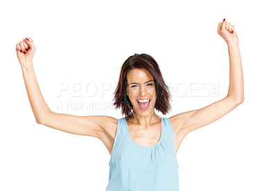Buy stock photo Portrait of an excited young girl screaming with raised hands against white background