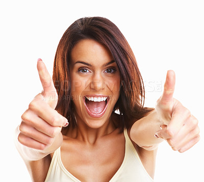 Buy stock photo Thumbs up -Excited young girl wishing you good luck against white background