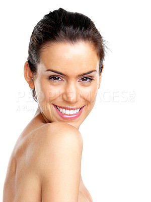 Buy stock photo Portrait of a sexy young woman smiling against white background