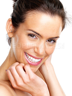 Buy stock photo Closeup portrait of an attractive young woman posing against white background