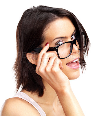 Buy stock photo Portrait of a happy young woman wearing glasses against against white background