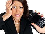 Young businesswoman frustrated with her mobile not working