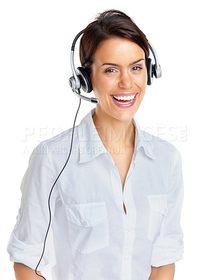 Buy stock photo Portrait of a beautiful young customer service agent with headset against white background
