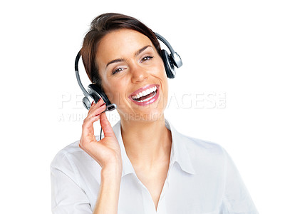 Buy stock photo Portrait of a smiling young call centre executive with a headset over white background