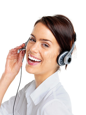 Buy stock photo Closeup portrait of a successful female call centre employee wearing a headset against white background