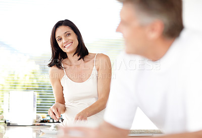 Buy stock photo Portrait of a beautiful mature lady smiling with her husband