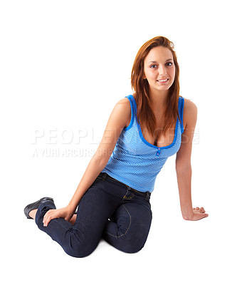 Buy stock photo Cute contemporary girl, sitting relaxed, dressed for summer with a blue tank top. This collections unique keyword is: michelle123