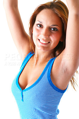 Buy stock photo Cute contemporary girl dressed for summer with a blue tank top. This collections unique keyword is: michelle123