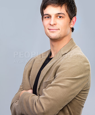 Buy stock photo Portrait of a young handsome business man