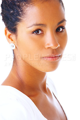 Buy stock photo Portrait of a beautiful young woman. Taken in our studio and isolated on a white background.