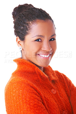 Buy stock photo Portrait of a beautiful young woman, taken in our studio and isolated on a white background.