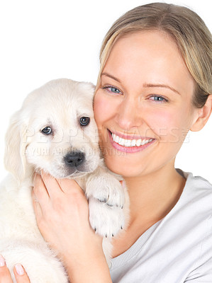 Buy stock photo Portrait of a girl embracing her adorable puppy. These two are best of friends.