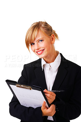 Buy stock photo Portrait of a friendly and beautiful business woman standing with her folder. This isolate is taken in our studio.