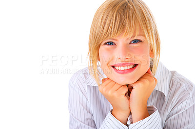 Buy stock photo An isolated portrait of a beautiful young professional smiling happily