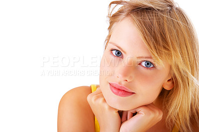 Buy stock photo Isolated portrait of a beautiful young female teenager.