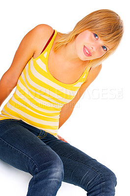 Buy stock photo Casual student sitting down.