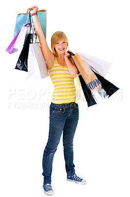 Buy stock photo Woman with shopping bags - Portrait of an attractive young woman holding several shoppingbags.