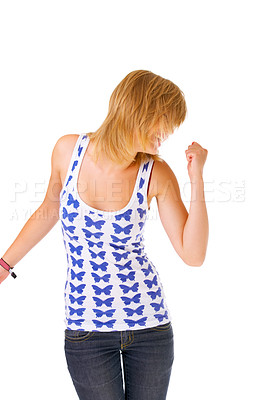 Buy stock photo Cute contemporary woman dancing and singing