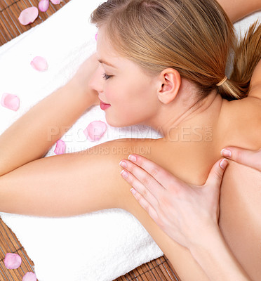 Buy stock photo Closeup of young woman receiving back massage