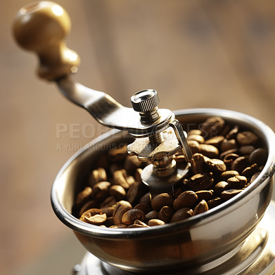 Buy stock photo Close-up of an old-fashioned coffee grinder