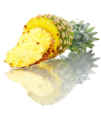 Buy stock photo Shoot of isolated slices of pineapple.