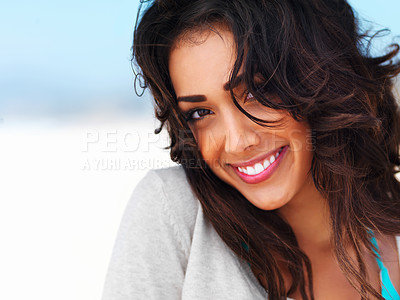 Buy stock photo Close up portrait of a happy young lady