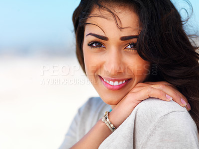 Buy stock photo Close up portrait of a smiling young lady