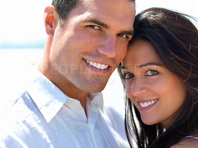 Buy stock photo Close up portrait of a smiling young couple in love