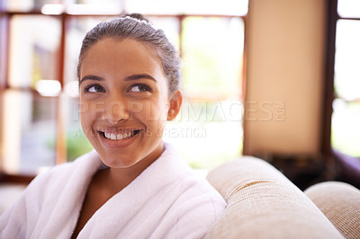 Buy stock photo Shot of a young woman in a bathrobe at a health spa