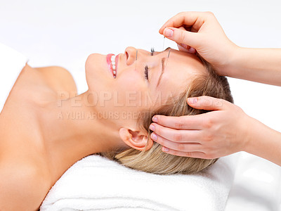 Buy stock photo Portrait of a pretty lady in acupuncture therapy at the day spa