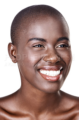 Buy stock photo A beautiful african woman smiling happily while standing in studio