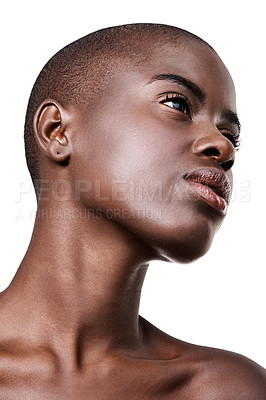 Buy stock photo Low angle studio shot of a beautiful young african woman isolated on white