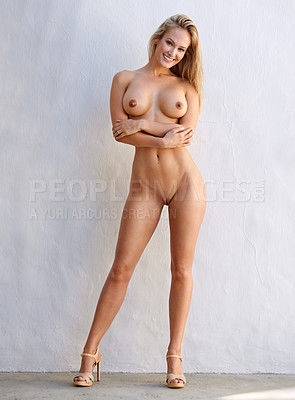Buy stock photo After countless requests from customers, Cecilie decides to drop it all for the first time in 8 years of professional modeling and for peopleimages.com only. So here she is, completely naked and why not… when you look like this. Cecilie has requested that we not retouch her images or if so very little.