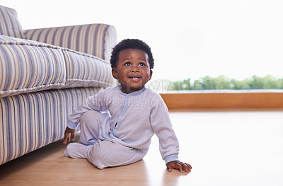 Buy stock photo Shot of an adorable little baby boy at home