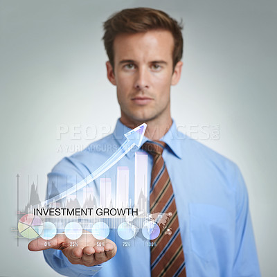 Buy stock photo Cropped shot of a businessman using a digital interface
