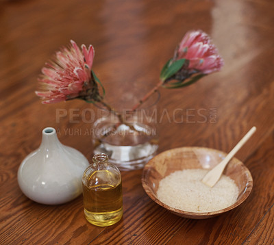 Buy stock photo Still life of candles and aromatherapy oils