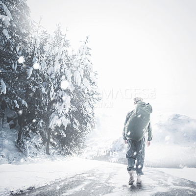 Buy stock photo Rearview illustration of a man walking down a snowy road