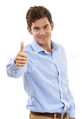 Buy stock photo Portrait of a handsome young man in a studio giving a thumbs up