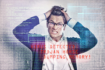 Buy stock photo Cropped shot of a frustrated businessman with an interface of warning signals