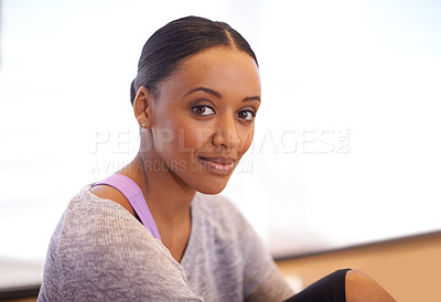 Buy stock photo Portrait of a young dancer sitting in dance studio