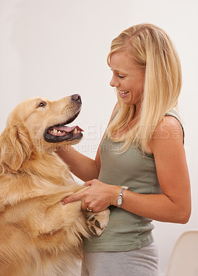 Buy stock photo Shot of an attractive young woman interacting with her dog