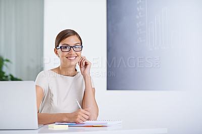 Buy stock photo Portrait of an attractive young business woman working