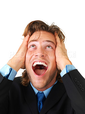 Buy stock photo Surprise - A very surprised man- Close-up of a young man looking very surprised.