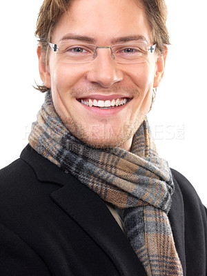Buy stock photo Closeup of a cheerful young businessman against white background