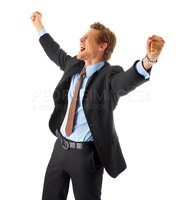 Buy stock photo One very happy energetic businessman with his arms raised.